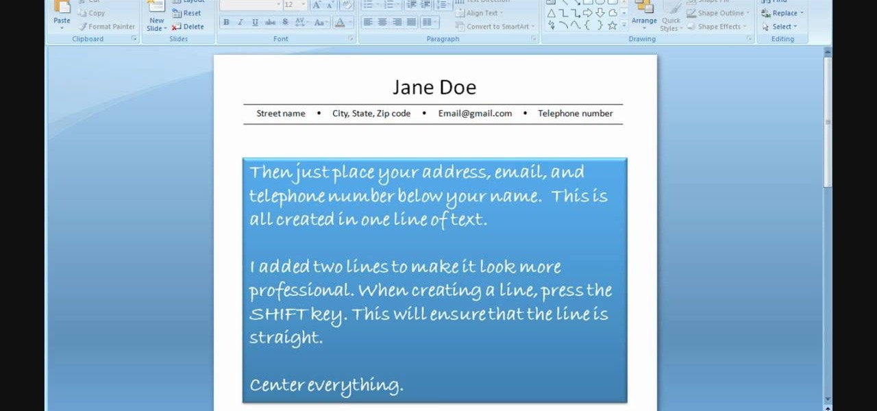 How To Create A Resume Using PowerPoint « Jobs U0026 Resumes :: WonderHowTo  Powerpoint Resume