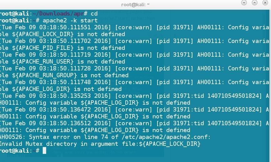 Apache2 Error Kali Linux