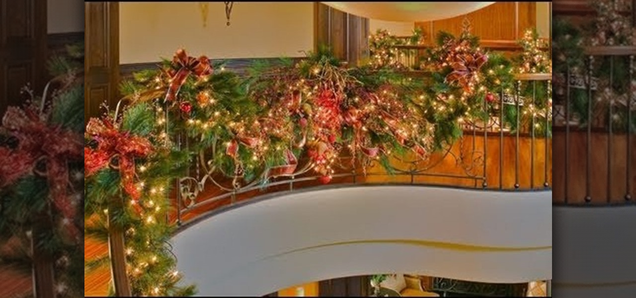 how to decorate your staircase with a golden splendor christmas garland christmas ideas wonderhowto