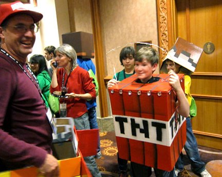 Coolest dad ever helped his son craft this homemade tnt block with