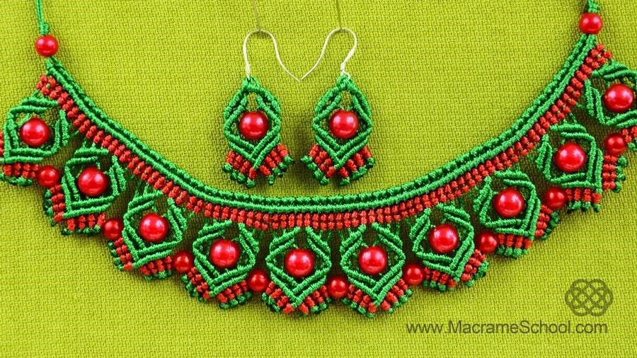DIY Macrame Earrings with Diamonds and Beads