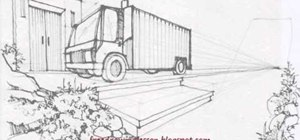 Draw a large truck under a bridge with shading