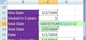 Calculate the vest date for a contract in MS Excel