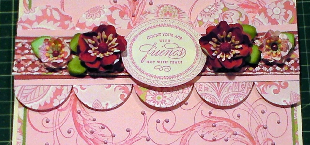 How to Make Gorgeous Pink Flourish Rubber Stamped Card