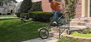 Do a rolling giraffe unicycle mount