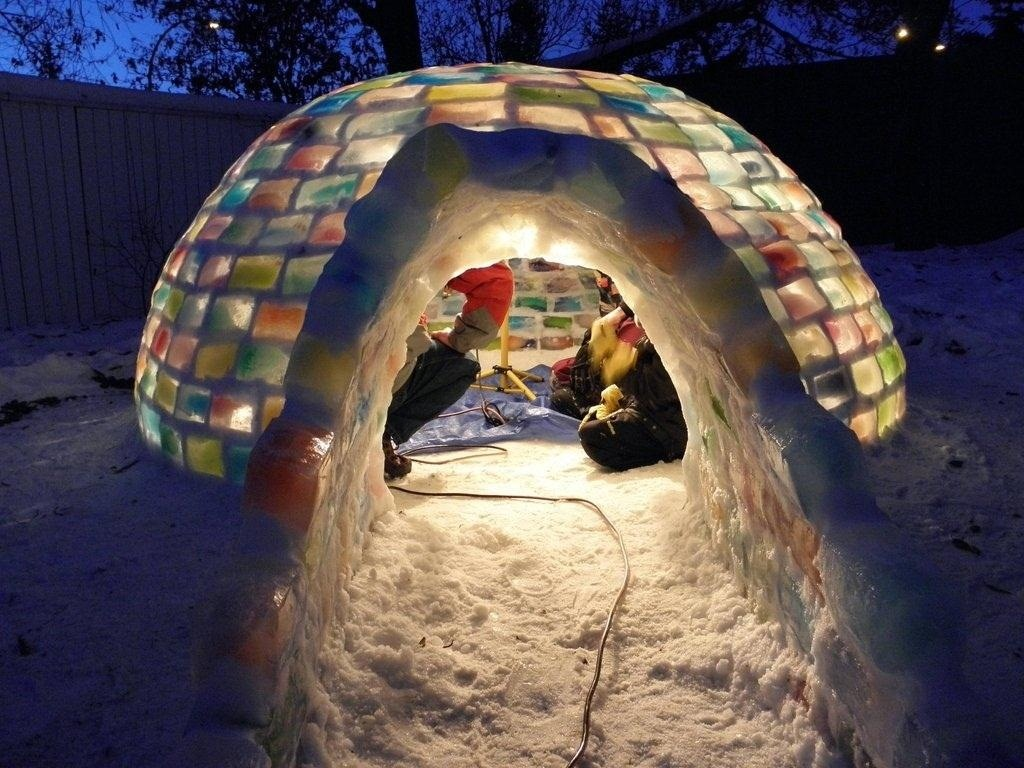 """How to Build Your Own Rainbow-Colored Igloo with Milk Carton Ice Blocks and """"Snowcrete"""""""