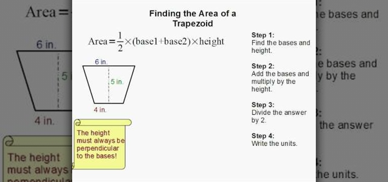 How to find the area of a trapezoid math wonderhowto ccuart Choice Image
