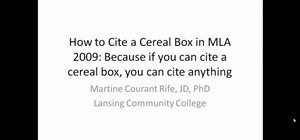 Cite a cereal box in MLA format