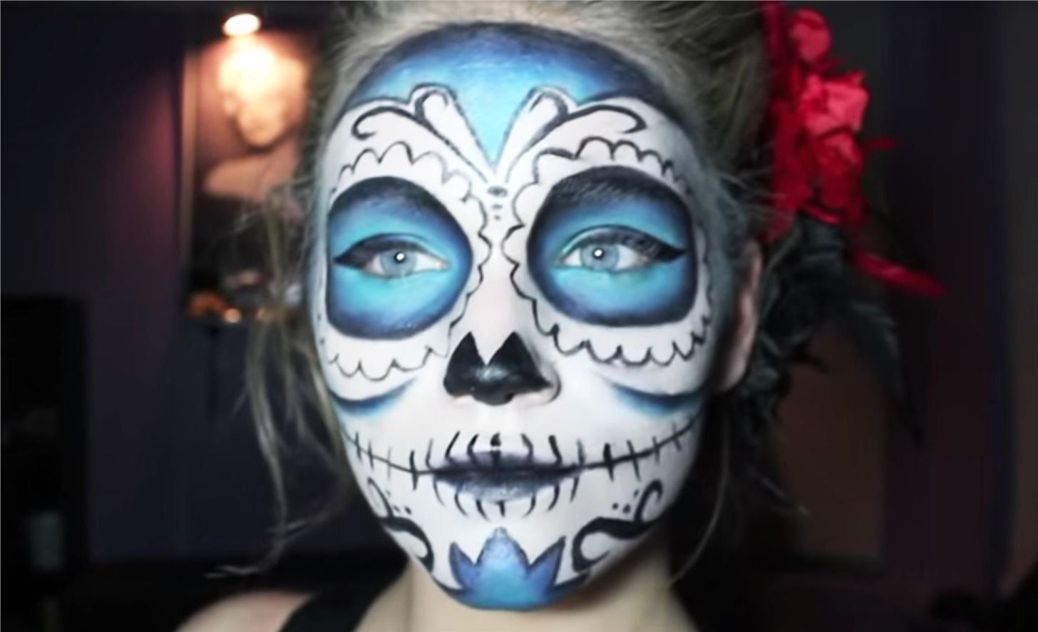 Men S Sugar Skull Makeup Half Face - Life Style By ...