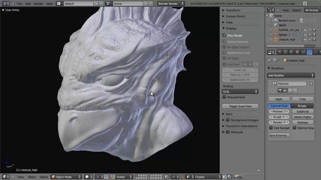 Retopologize a high-resolution object for rendering in Blender 2.5