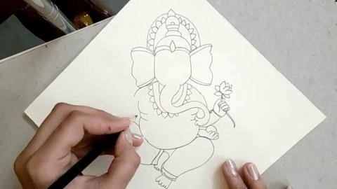 How to Draw the Sitting Hindu God Ganesha, Step by Step