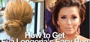 Style an easy low-bun hairdo with an Eva Longoria / Victoria Beckham combo