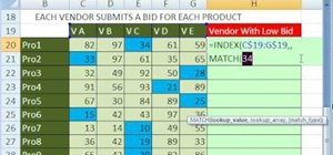 Retrieve the name of a lowest-bidding vendor in Excel