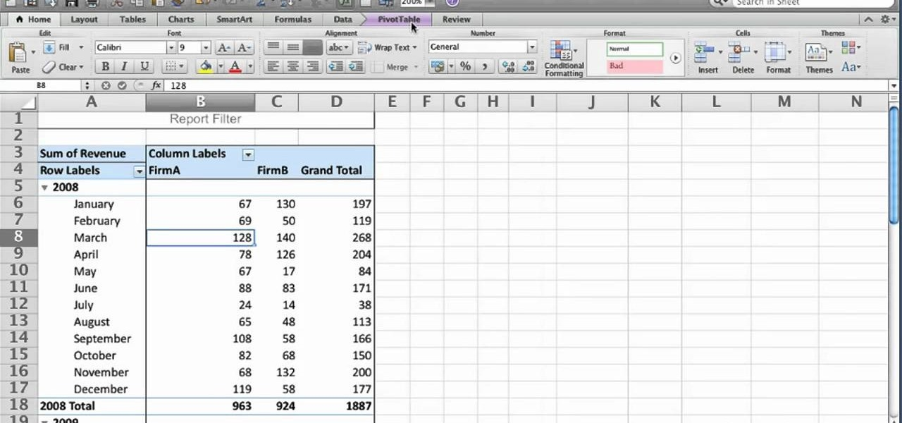 how to use the pivottable report feature in microsoft excel 2011