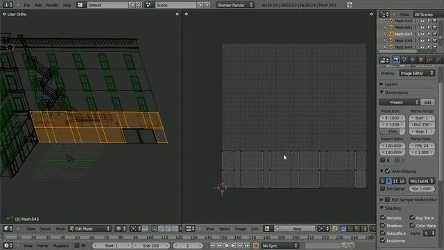 Unwrap a model of a building in Blender 2.5 - Part 1 of 2