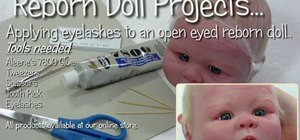Apply eyelashes to open eyed reborn baby dolls