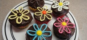 Decorate simple candy melt flower and heart cupcakes