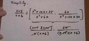 Multiply and divide three rational expressions