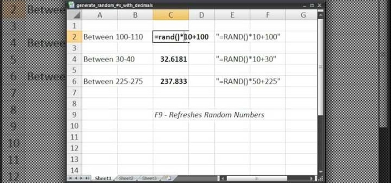 How to Generate random numbers (with decimals) in Excel « Microsoft