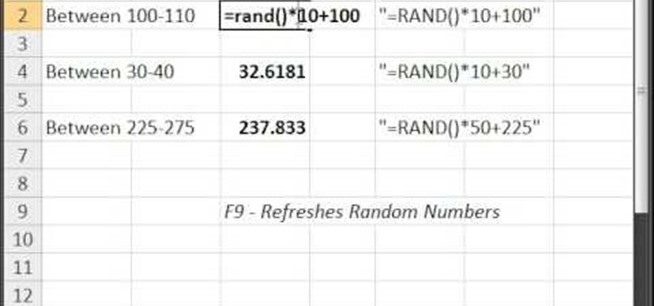 How to Generate random numbers (with decimals) in Excel