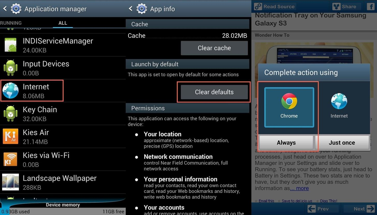 how to set chrome as default browser on samsung
