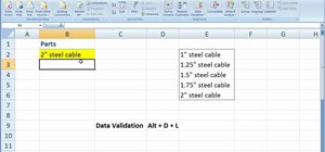 Enter Excel data into cells with drop down menus