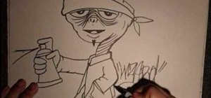 Draw a gangster graffiti ET character