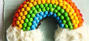 Rainbow M&M Cake With Fluffy White Clouds