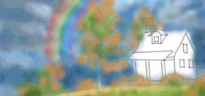 Draw a outdoor rainbow scene