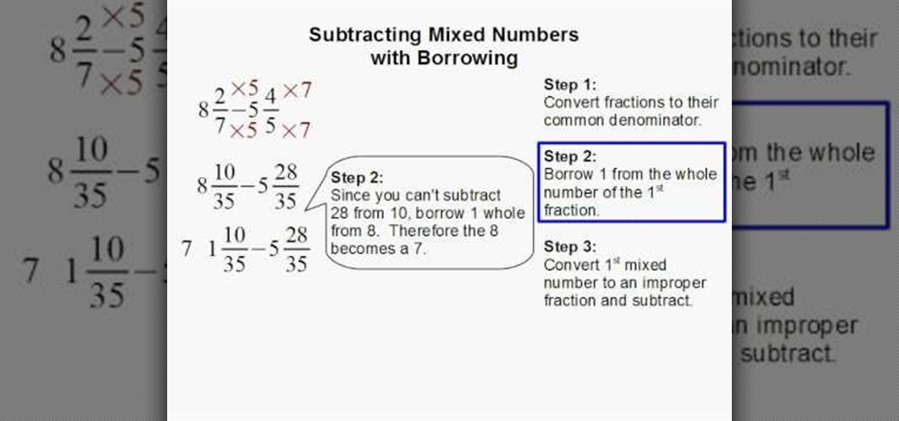Worksheets An Example Of How To Add Or Subtract Mixed Numbers With Renaming how to subtract mixed numbers with borrowing math wonderhowto