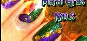 Create colorful fingernails for Mardi Gras