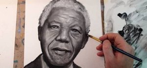 Create a portrait of Nelson Mandela with a dry brush oil paint technique
