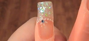 Create white flake with flowers acrylic nails