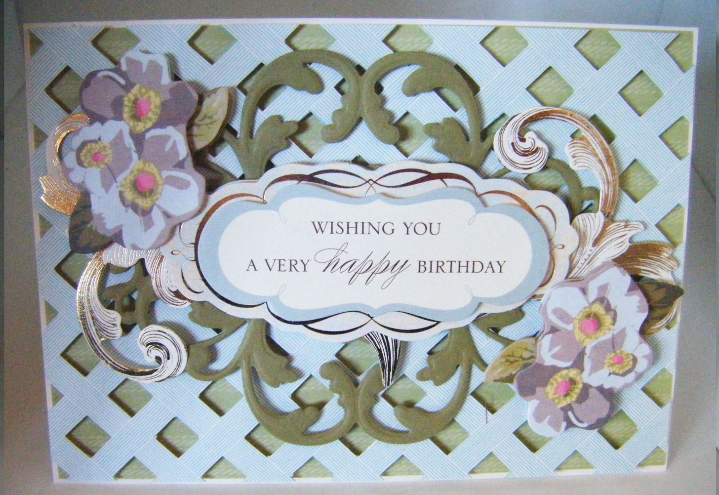 How to Make a Lattice Floral Birthday Card