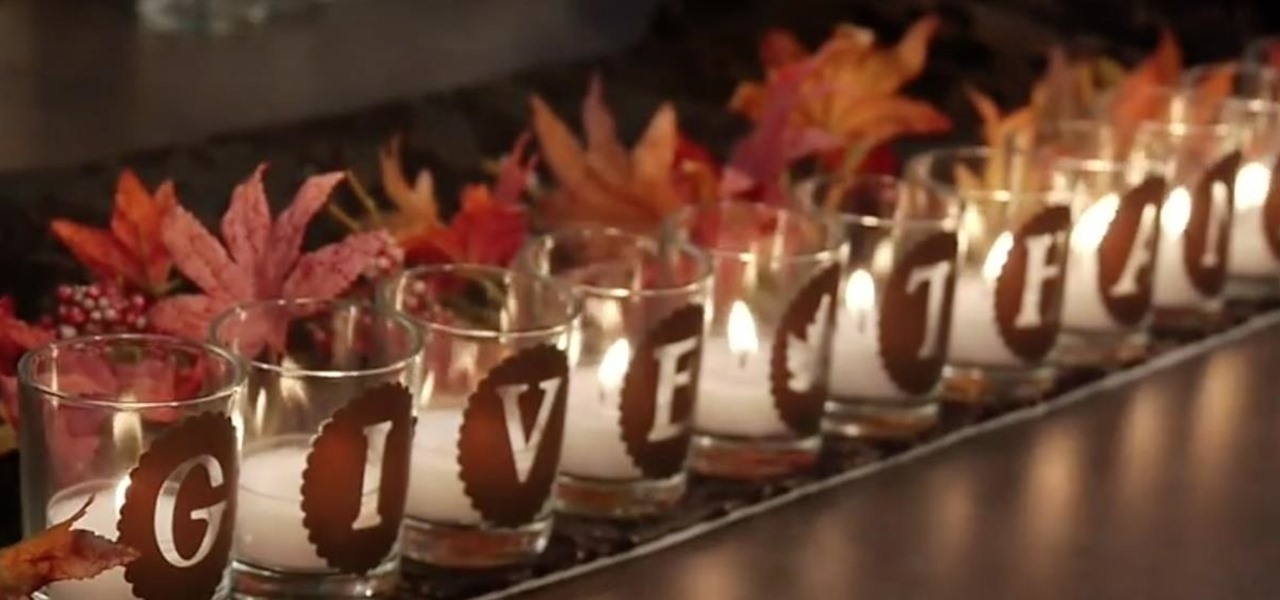 Make a Give Thanks Votive Array for Thanksgiving with Cricut Vinyl