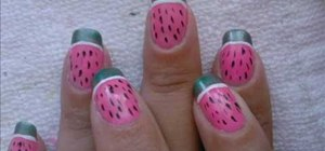 Paint watermelon nails for summer