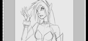 Draw an anime dark elf girl