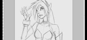 Draw an anime dark elf girl