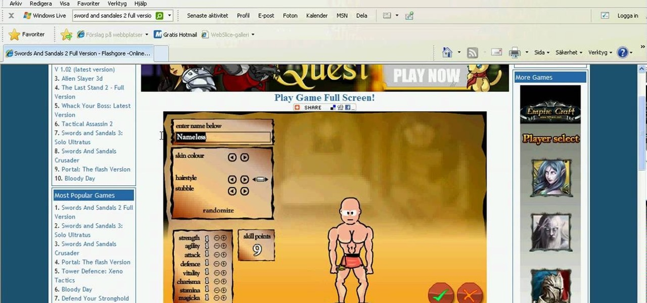 How To Hack Swords And Sandals 2 With Cheat Engine 09 28