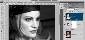 Create a 1940's black & white glamour portrait in Phot