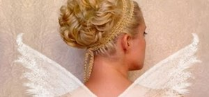 Create an ethereal curled fairy/angel updo for Halloween