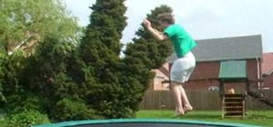 Perform a double front flip on the trampoline