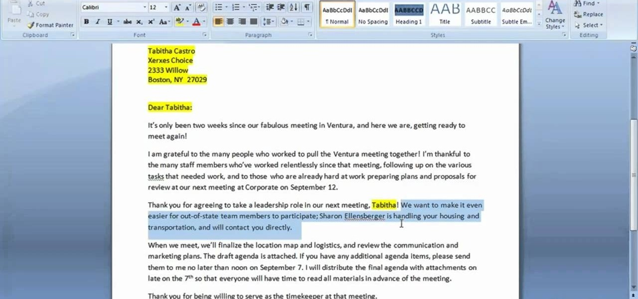 formatting a letter in word