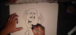 Draw a gangster M&M graffiti character