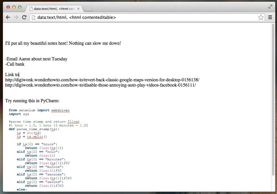 How to Turn Your Web Browser into a Simple Text Editor for Quick & Convenient Note-Taking