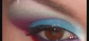 Apply red, white and blue eyeshadow