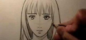 Draw a realistic, female manga face