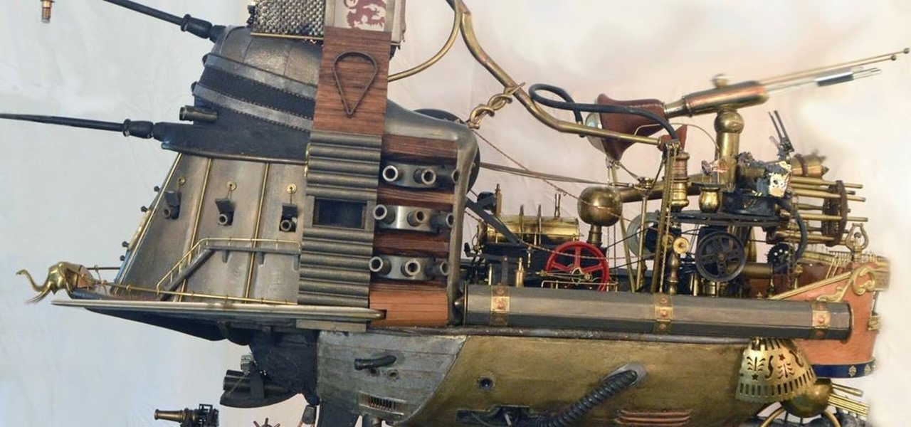 Large Steampunk Warship/Train Operating on Live Steam