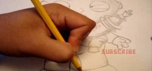 Draw Stewie Griffin from Family Guy with a pencil
