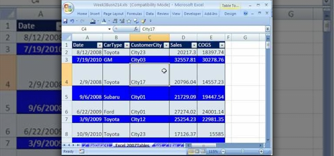 how to use and work with tables in microsoft excel 2007  u00ab microsoft office    wonderhowto